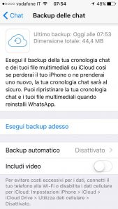 impostazioni backup whatsapp iphone